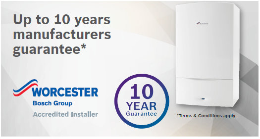 up to 10 years boiler warranty as Worcester Accredited Installers