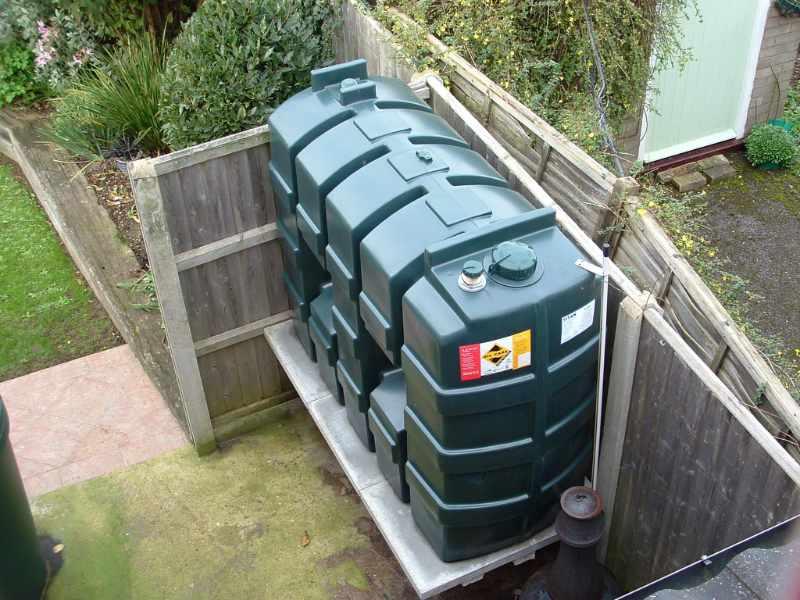 new oil tank in a garden
