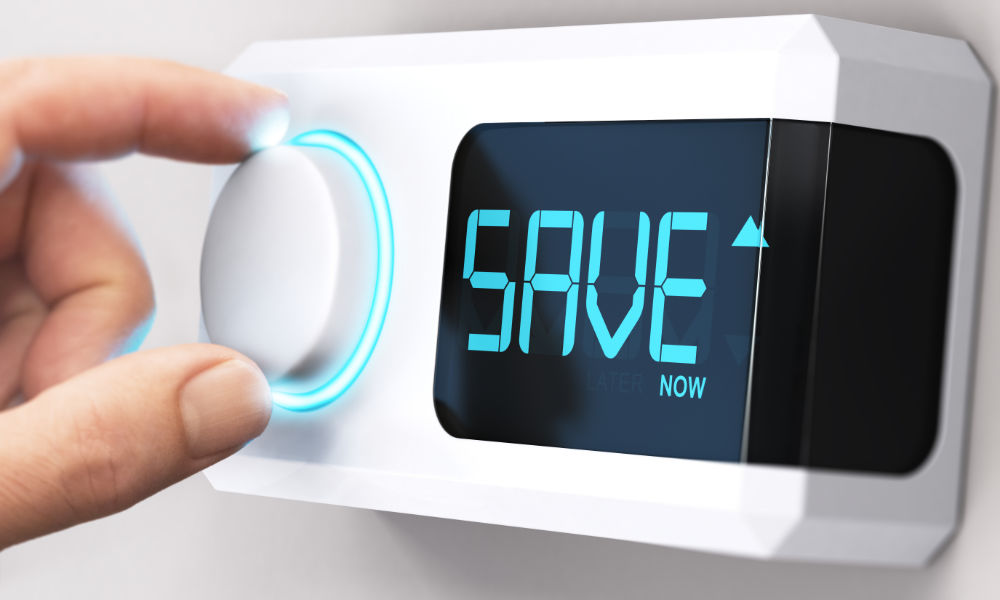 heating control showing a save message
